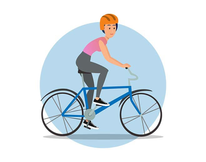 woman riding bike icon